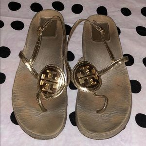 Tory Burch Sandals Metalic Leather Gold Logo